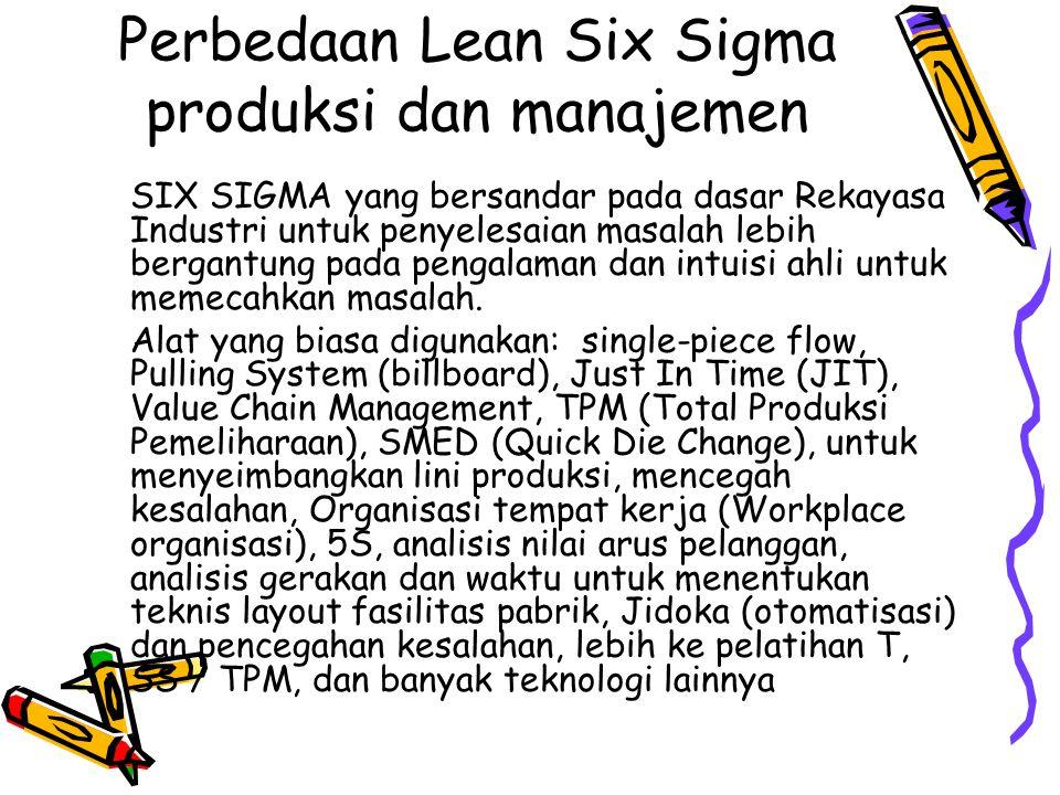Perbedaan Lean Six Sigma produksi dan manajemen SIX SIGMA yang bersandar pada dasar Rekayasa Industri untuk penyelesaian masalah lebih bergantung pada