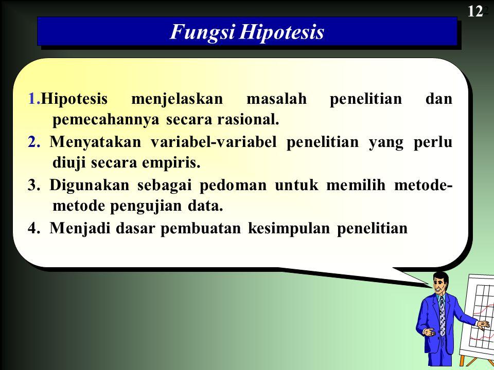 12 Fungsi Hipotesis 1.Hipotesis menjelaskan masalah penelitian dan pemecahannya secara rasional. 2.Menyatakan variabel-variabel penelitian yang perlu