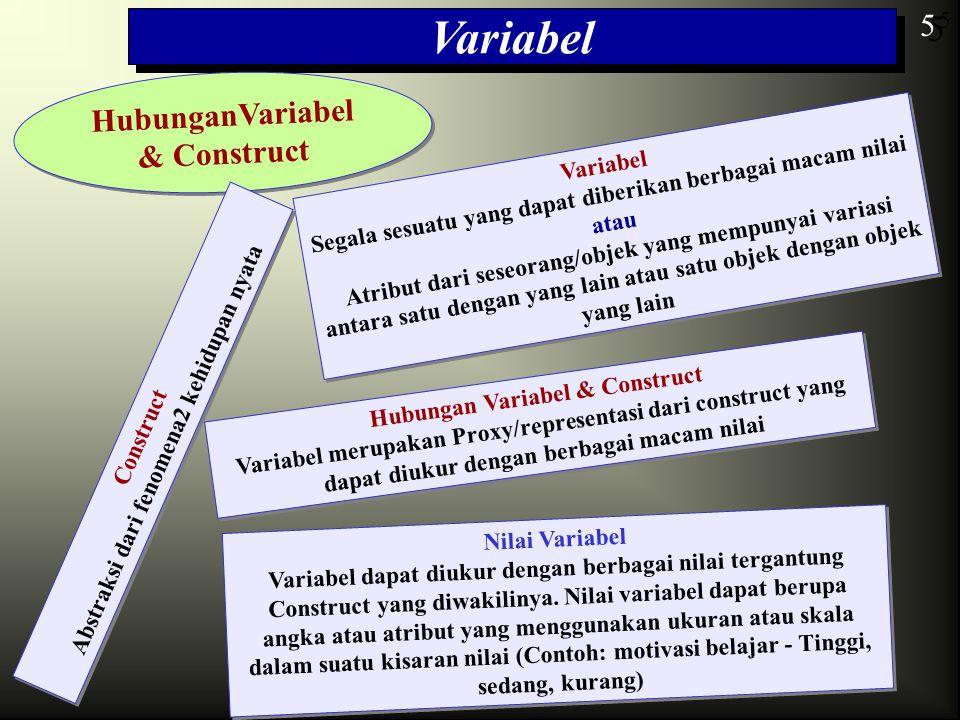 5 Variabel HubunganVariabel & Construct 5 5 Variabel Segala sesuatu yang dapat diberikan berbagai macam nilai atau Atribut dari seseorang/objek yang m
