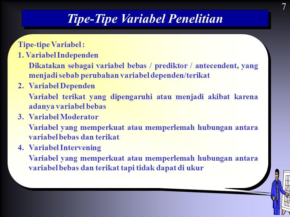 7 Tipe-Tipe Variabel Penelitian Tipe-tipe Variabel : 1. Variabel Independen Dikatakan sebagai variabel bebas / prediktor / antecendent, yang menjadi s