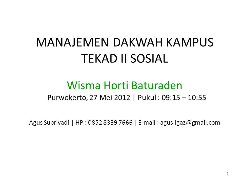 MANAJEMEN DAKWAH KAMPUS TEKAD II SOSIAL Wisma Horti Baturaden Purwokerto, 27 Mei 2012 | Pukul : 09:15 – 10:55 Agus Supriyadi | HP : 0852 8339 7666 | E