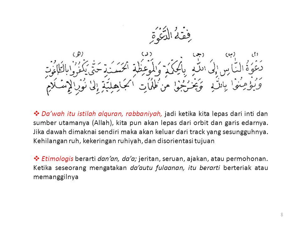 8  Da'wah itu istilah alquran, rabbaniyah, jadi ketika kita lepas dari inti dan sumber utamanya (Allah), kita pun akan lepas dari orbit dan garis eda