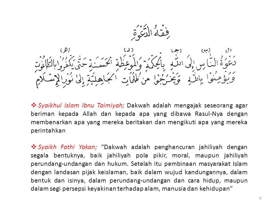 9  Syaikhul Islam Ibnu Taimiyah; Dakwah adalah mengajak seseorang agar beriman kepada Allah dan kepada apa yang dibawa Rasul-Nya dengan membenarkan a
