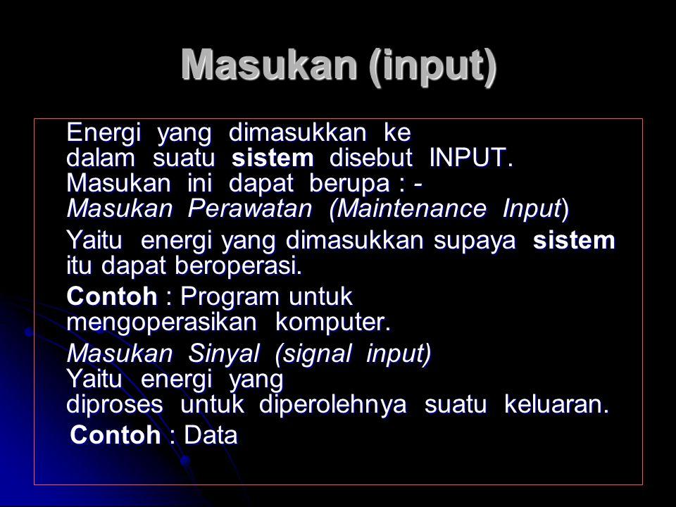 Penghubung (interface) Sistem merupakan suatu media penghubung antara satu subsistem dengan subsistem lainnya untuk membentuk satu kesatuan, sehingga