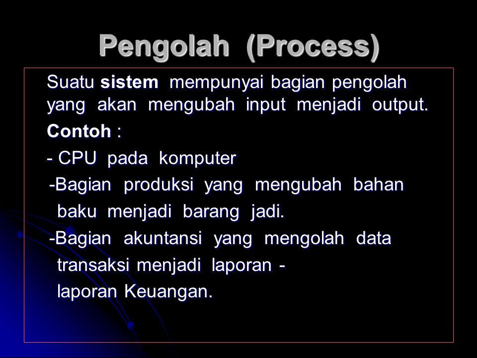 Masukan (input) Energi yang dimasukkan ke dalam suatu sistem disebut INPUT. Masukan ini dapat berupa : - Masukan Perawatan (Maintenance Input) Yaitu e