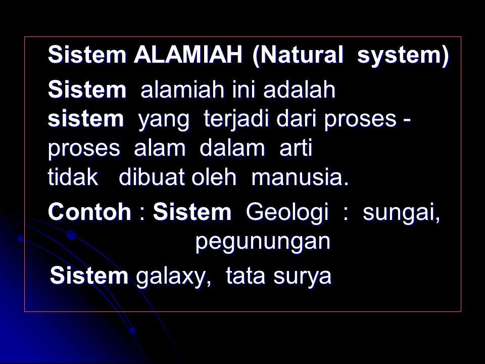 Sistem FISIK (Physical system) Sistem fisik merupakan sistem yang tampak secara fisik sehingga setiap mahluk dapat melihatnya. Contoh : Sistem Kompute