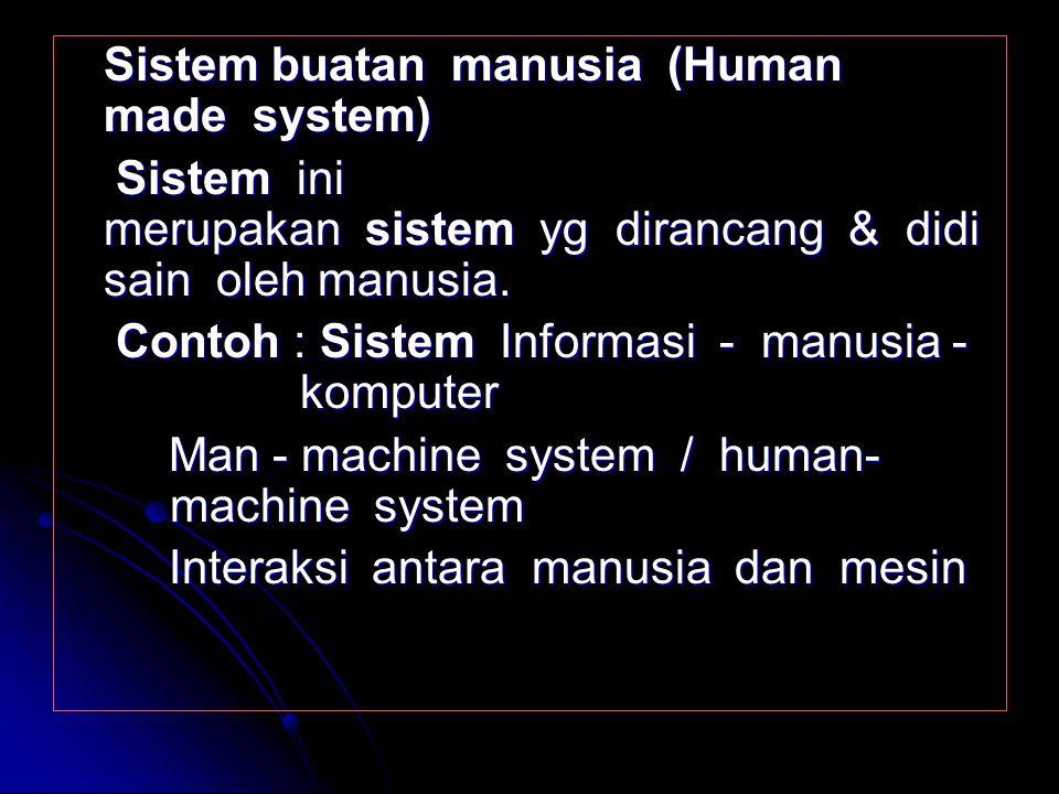 Sistem ALAMIAH (Natural system) Sistem alamiah ini adalah sistem yang terjadi dari proses - proses alam dalam arti tidak dibuat oleh manusia. Contoh :