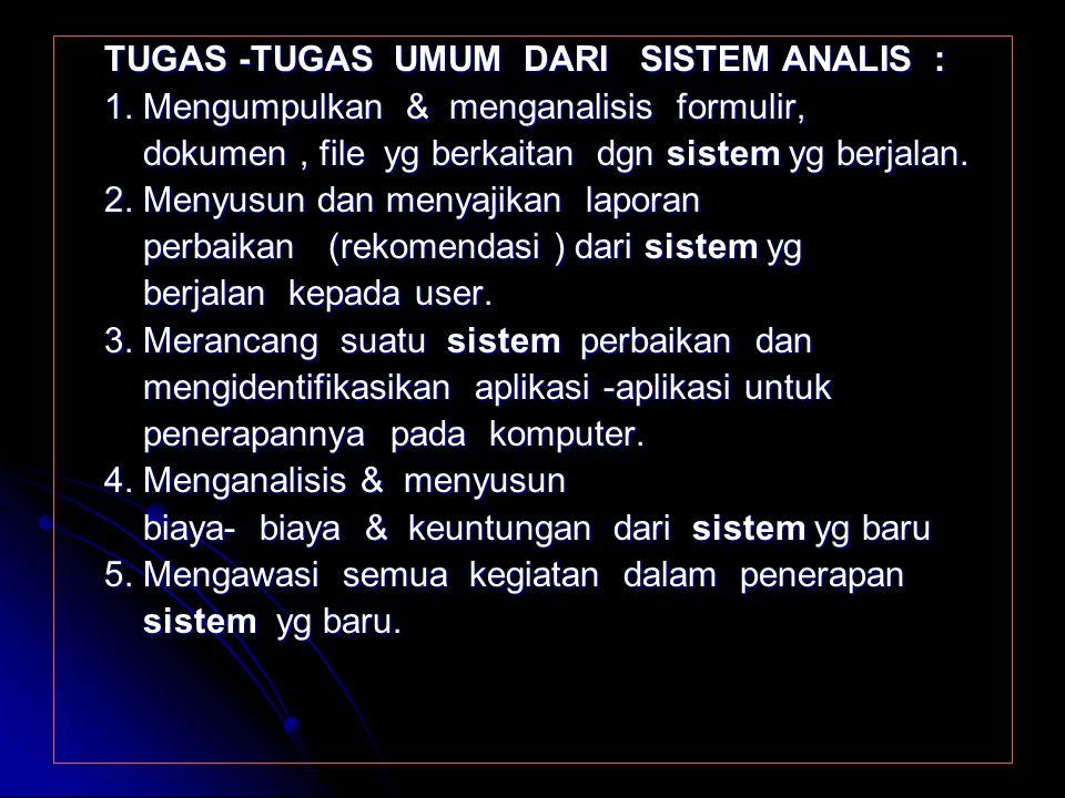 FUNGSI SISTEM ANALIS : 1. Mengidentifikasikan masalah - masalah dari pemakai / user 1. Mengidentifikasikan masalah - masalah dari pemakai / user 2. Me