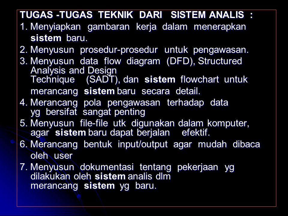 TUGAS -TUGAS UMUM DARI SISTEM ANALIS : 1. Mengumpulkan & menganalisis formulir, dokumen, file yg berkaitan dgn sistem yg berjalan. dokumen, file yg be
