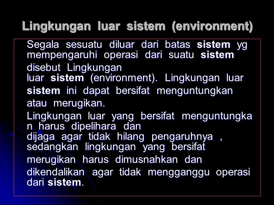 Batas Sistem (boundary) Batas sistem merupakan daerah yang membatasi antara sistem yang satu dengan sistem lainnya atau dengan lingkun gan luarnya. De