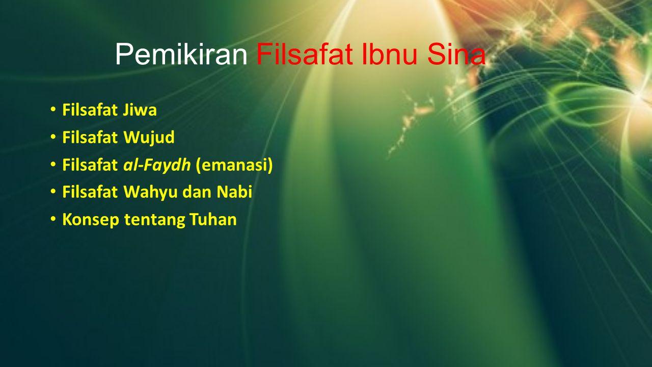 Pemikiran Filsafat Ibnu Sina Filsafat Jiwa Filsafat Wujud Filsafat al-Faydh (emanasi) Filsafat Wahyu dan Nabi Konsep tentang Tuhan