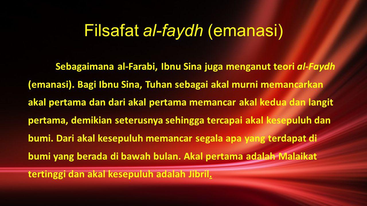 Filsafat al-faydh (emanasi) Sebagaimana al-Farabi, Ibnu Sina juga menganut teori al-Faydh (emanasi). Bagi Ibnu Sina, Tuhan sebagai akal murni memancar