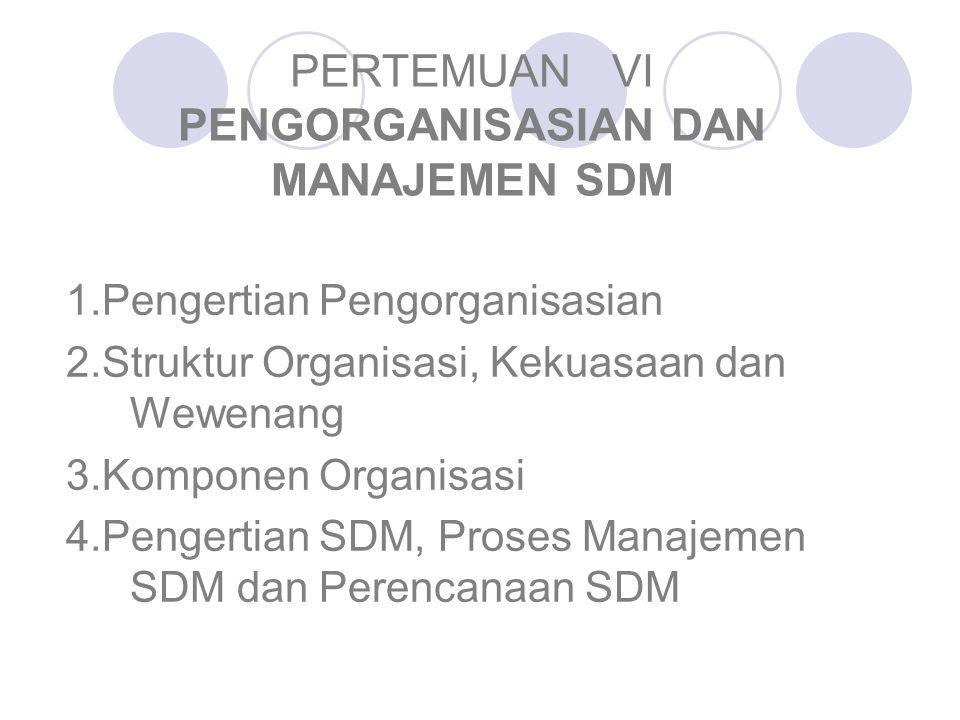 PERTEMUAN VI PENGORGANISASIAN DAN MANAJEMEN SDM 1.Pengertian Pengorganisasian 2.Struktur Organisasi, Kekuasaan dan Wewenang 3.Komponen Organisasi 4.Pe