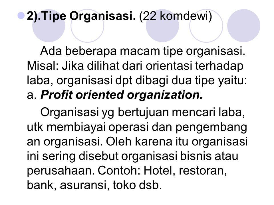 2).Tipe Organisasi. (22 komdewi) Ada beberapa macam tipe organisasi. Misal: Jika dilihat dari orientasi terhadap laba, organisasi dpt dibagi dua tipe