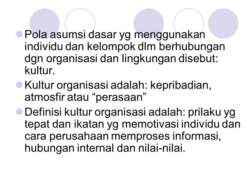 Pola asumsi dasar yg menggunakan individu dan kelompok dlm berhubungan dgn organisasi dan lingkungan disebut: kultur. Kultur organisasi adalah: keprib