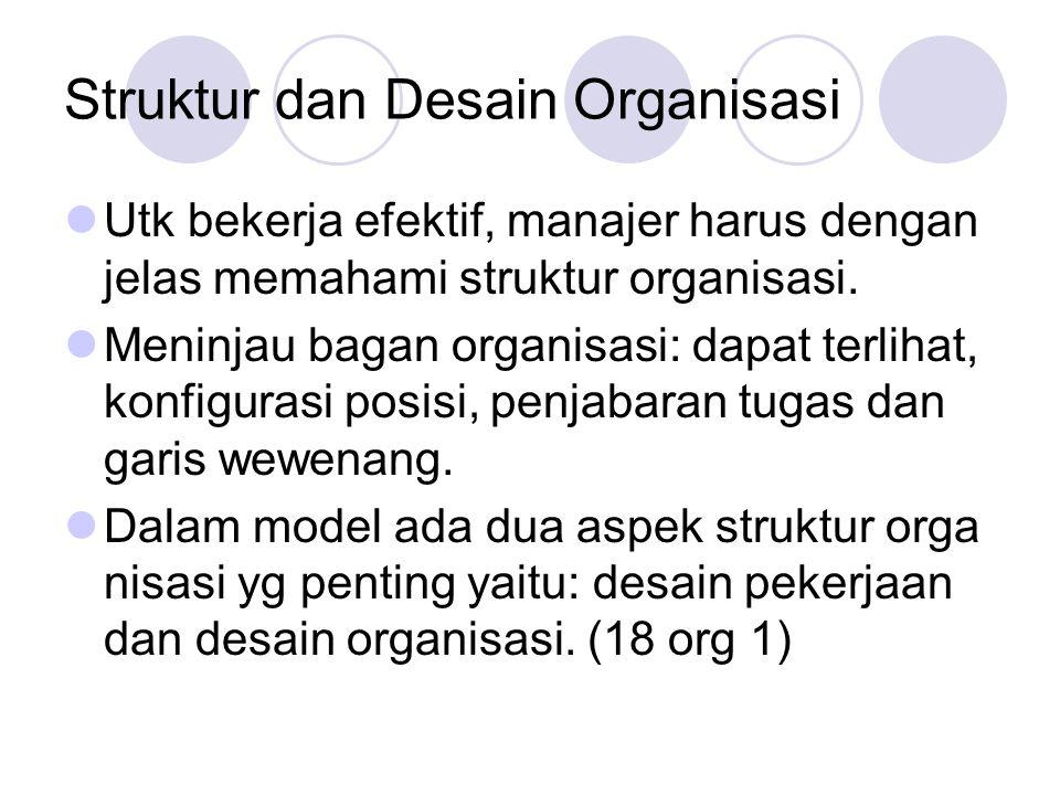 Struktur dan Desain Organisasi Utk bekerja efektif, manajer harus dengan jelas memahami struktur organisasi. Meninjau bagan organisasi: dapat terlihat