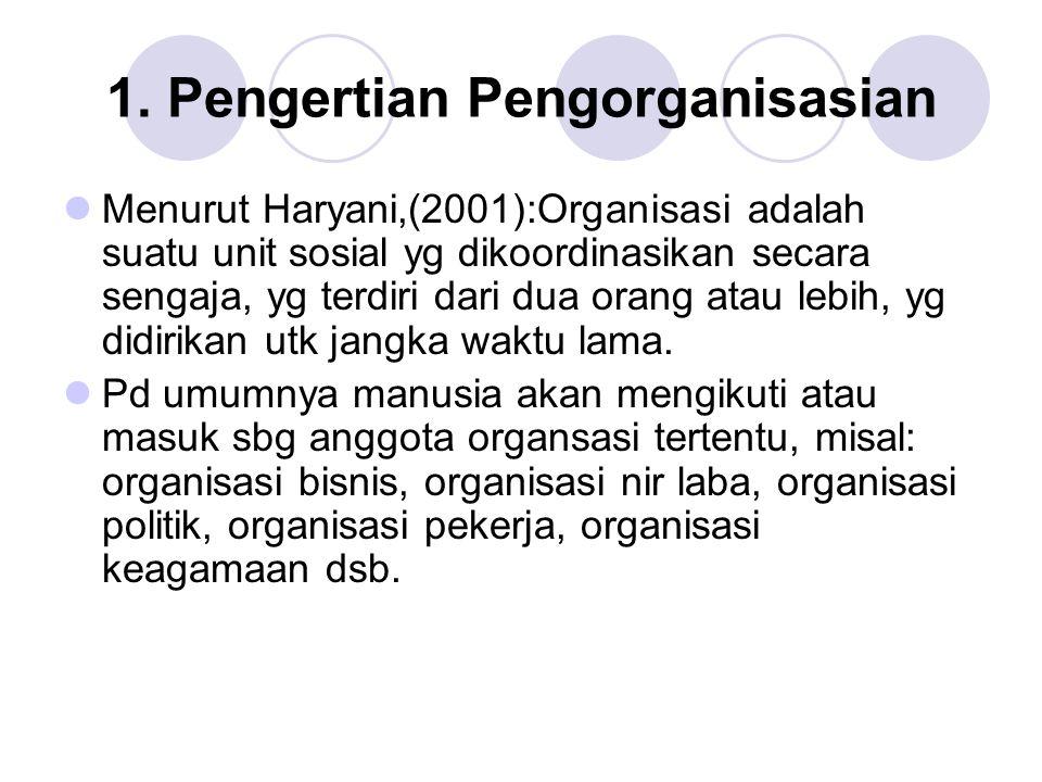 1. Pengertian Pengorganisasian Menurut Haryani,(2001):Organisasi adalah suatu unit sosial yg dikoordinasikan secara sengaja, yg terdiri dari dua orang