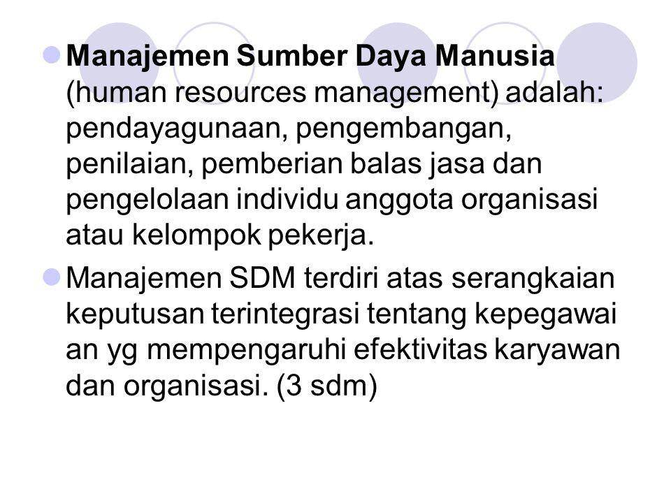 Manajemen Sumber Daya Manusia (human resources management) adalah: pendayagunaan, pengembangan, penilaian, pemberian balas jasa dan pengelolaan indivi