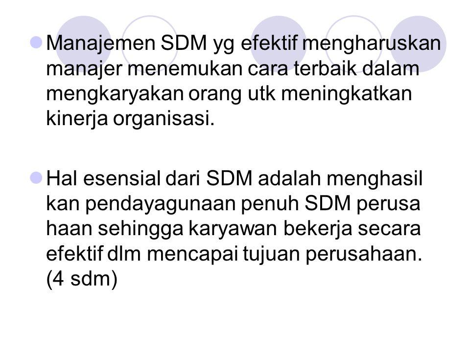 Manajemen SDM yg efektif mengharuskan manajer menemukan cara terbaik dalam mengkaryakan orang utk meningkatkan kinerja organisasi. Hal esensial dari S