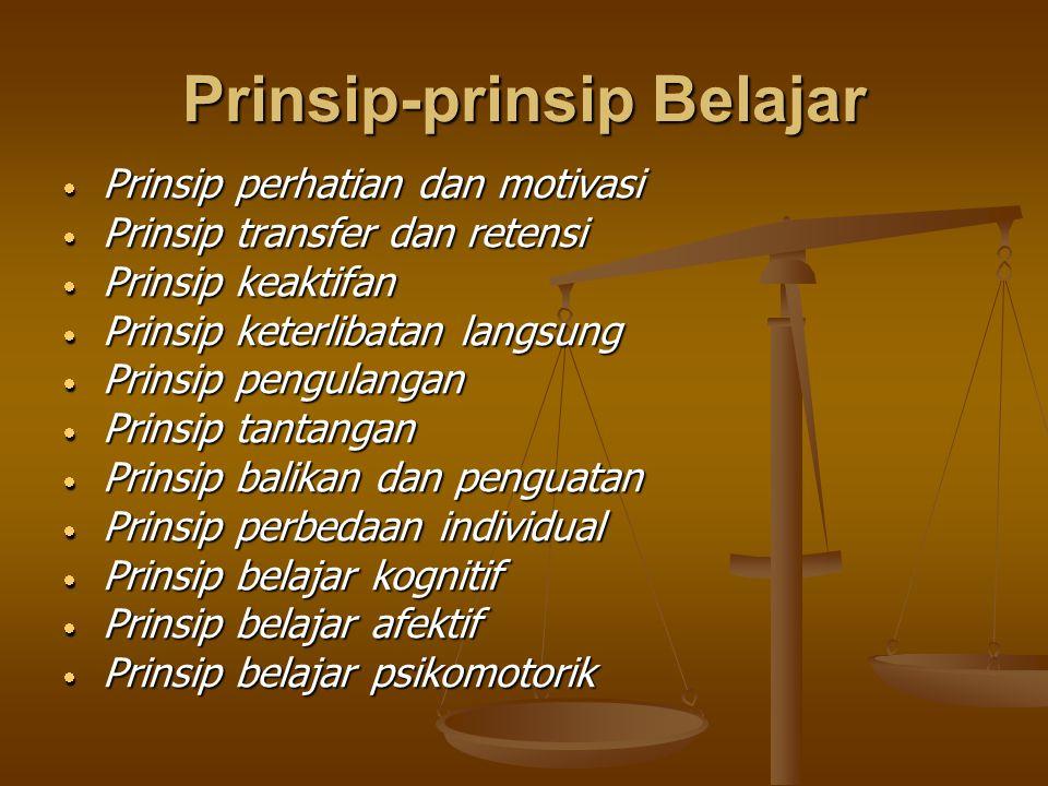 Prinsip-prinsip Belajar  Prinsip perhatian dan motivasi  Prinsip transfer dan retensi  Prinsip keaktifan  Prinsip keterlibatan langsung  Prinsip
