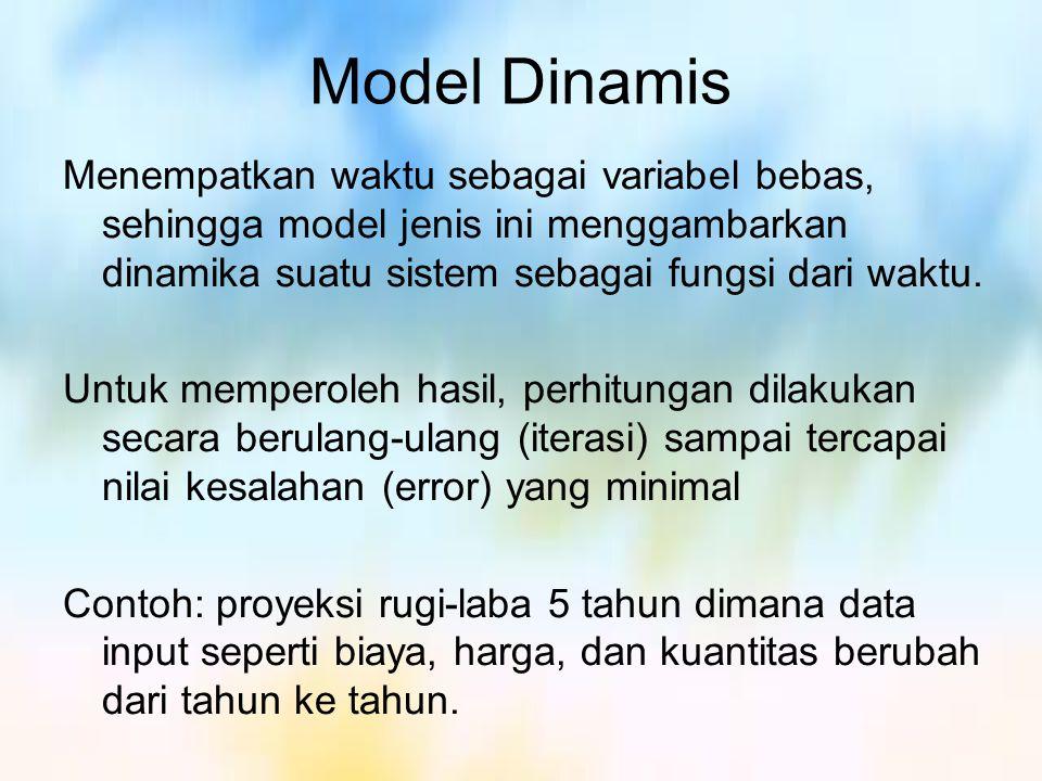 Model Numerik & Analitik Model Numerik adalah model yang diselesaikan dengan teknik numerik yang menghasilkan solusi melalui tahapan² perhitungan iteratif Model ini mampu memberikan solusi yang bersifat khusus pada keadaan tertentu dan mampu menyelesaikan persoalan² yang lebih kompleks.
