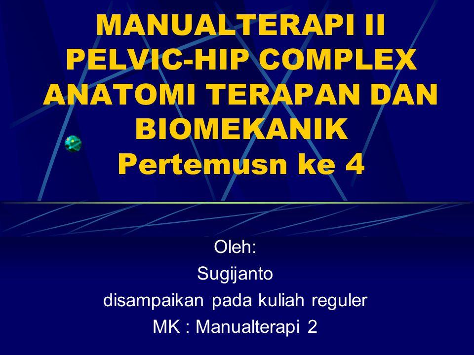 TUJUAN INSTRUKSIONAL Mahasiswa memahami anatomi terapan dan biomekanik dengan cara : Mampu mendefinisikan struktur jaringan spesifik Pelvic hip complex Mampu membedakan topografis dan fungsi antara tiap struktur jaringan spesifik Pelvic hip complex Mampu merinci tentang gerak Pelvic hip complex Mampu menghubungkan struktur jaringan spesifik dengan patologi Mampu menghubungkan struktur jaringan spesifik dengan assessmen dan intervensi