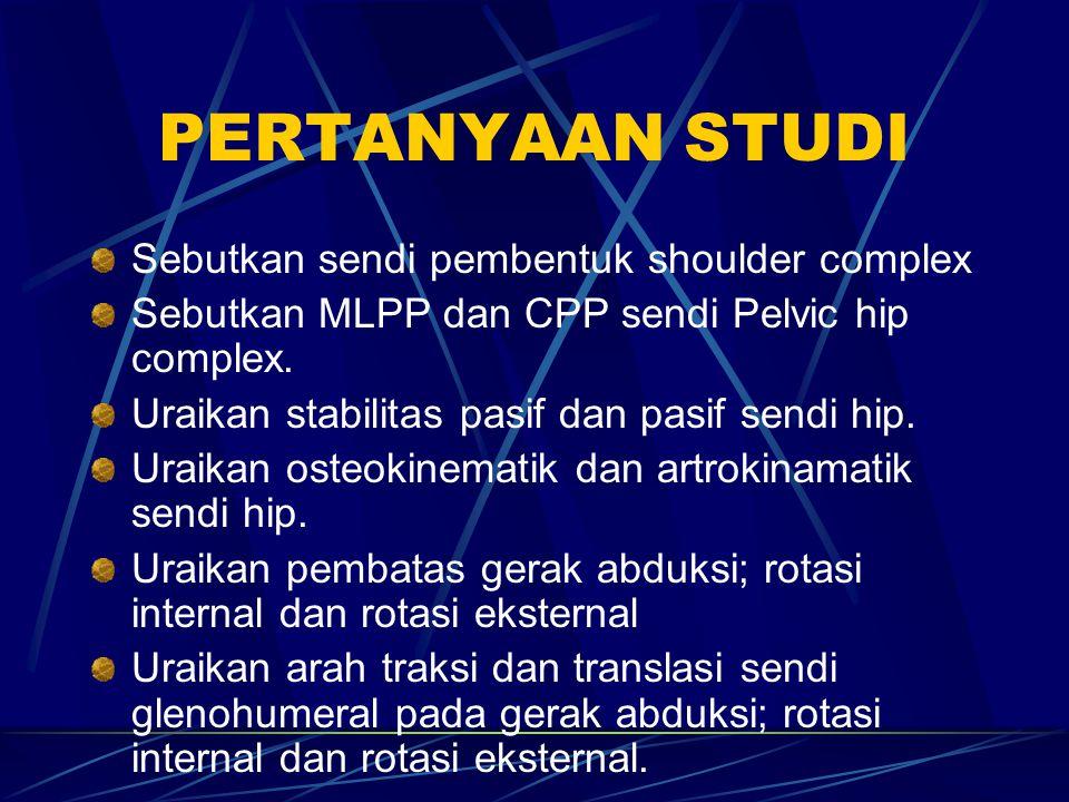 PERTANYAAN STUDI Sebutkan sendi pembentuk shoulder complex Sebutkan MLPP dan CPP sendi Pelvic hip complex. Uraikan stabilitas pasif dan pasif sendi hi