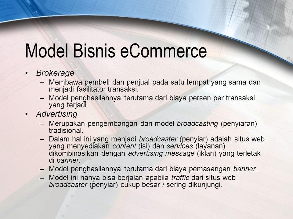 Model Bisnis eCommerce Brokerage –Membawa pembeli dan penjual pada satu tempat yang sama dan menjadi fasilitator transaksi.