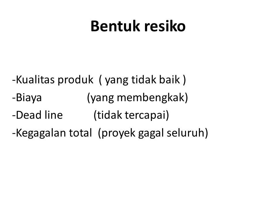 Bentuk resiko -Kualitas produk ( yang tidak baik ) -Biaya (yang membengkak) -Dead line (tidak tercapai) -Kegagalan total (proyek gagal seluruh)