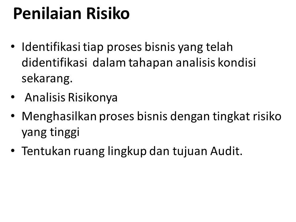 Penilaian Risiko Identifikasi tiap proses bisnis yang telah didentifikasi dalam tahapan analisis kondisi sekarang. Analisis Risikonya Menghasilkan pro