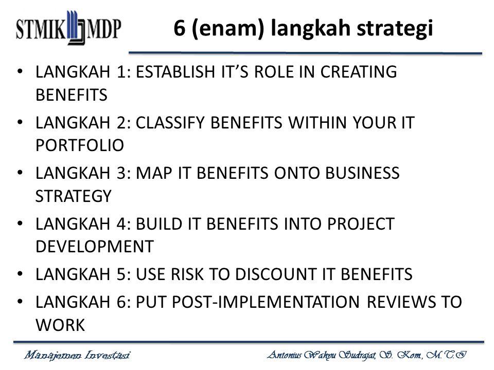 Manajemen Investasi Antonius Wahyu Sudrajat, S. Kom., M.T.I 6 (enam) langkah strategi LANGKAH 1: ESTABLISH IT'S ROLE IN CREATING BENEFITS LANGKAH 2: C