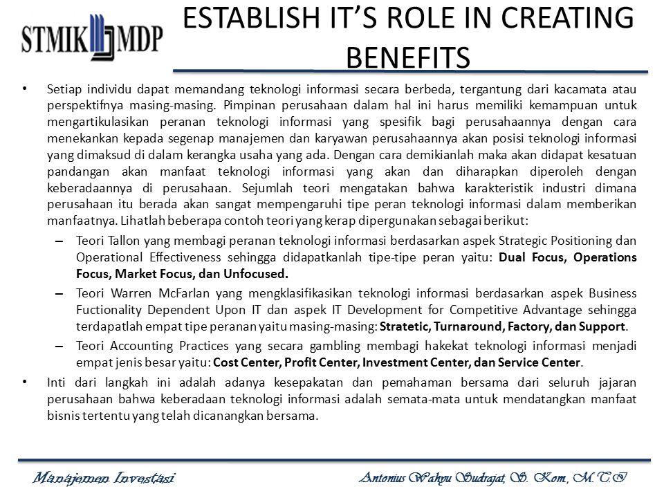 Manajemen Investasi Antonius Wahyu Sudrajat, S. Kom., M.T.I ESTABLISH IT'S ROLE IN CREATING BENEFITS Setiap individu dapat memandang teknologi informa