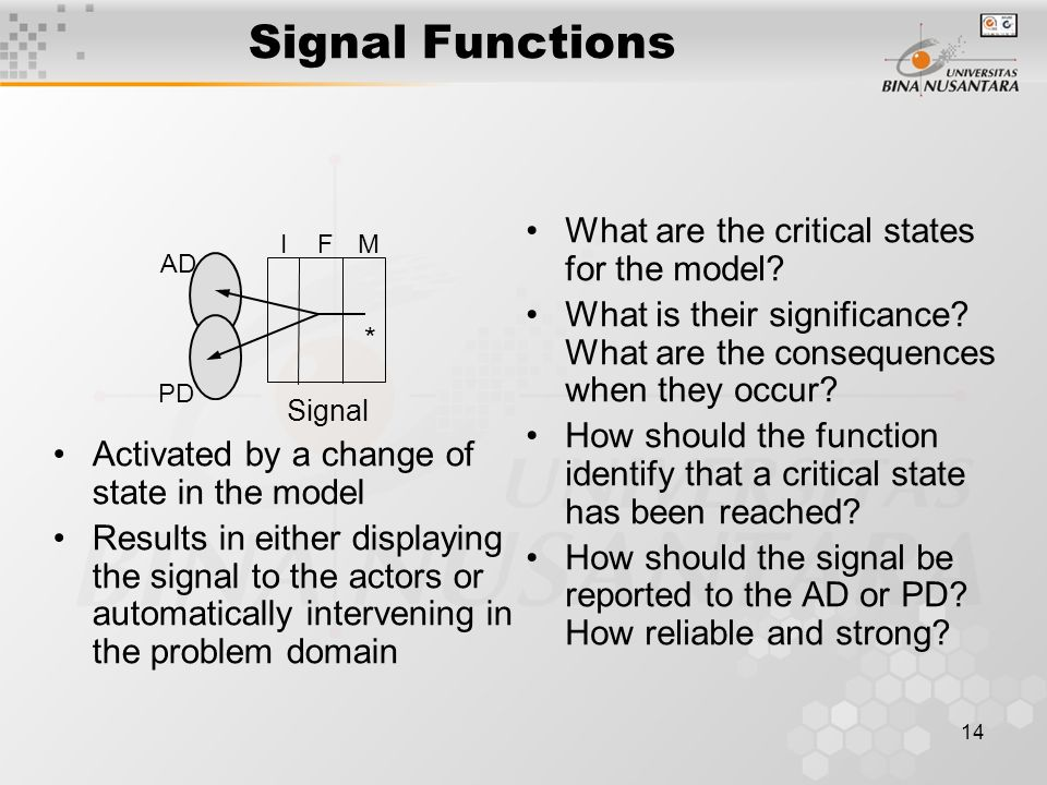 14 Signal Functions Activated by a change of state in the model Results in either displaying the signal to the actors or automatically intervening in the problem domain What are the critical states for the model.
