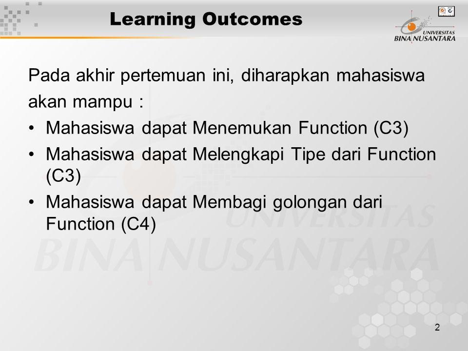 2 Learning Outcomes Pada akhir pertemuan ini, diharapkan mahasiswa akan mampu : Mahasiswa dapat Menemukan Function (C3) Mahasiswa dapat Melengkapi Tipe dari Function (C3) Mahasiswa dapat Membagi golongan dari Function (C4)