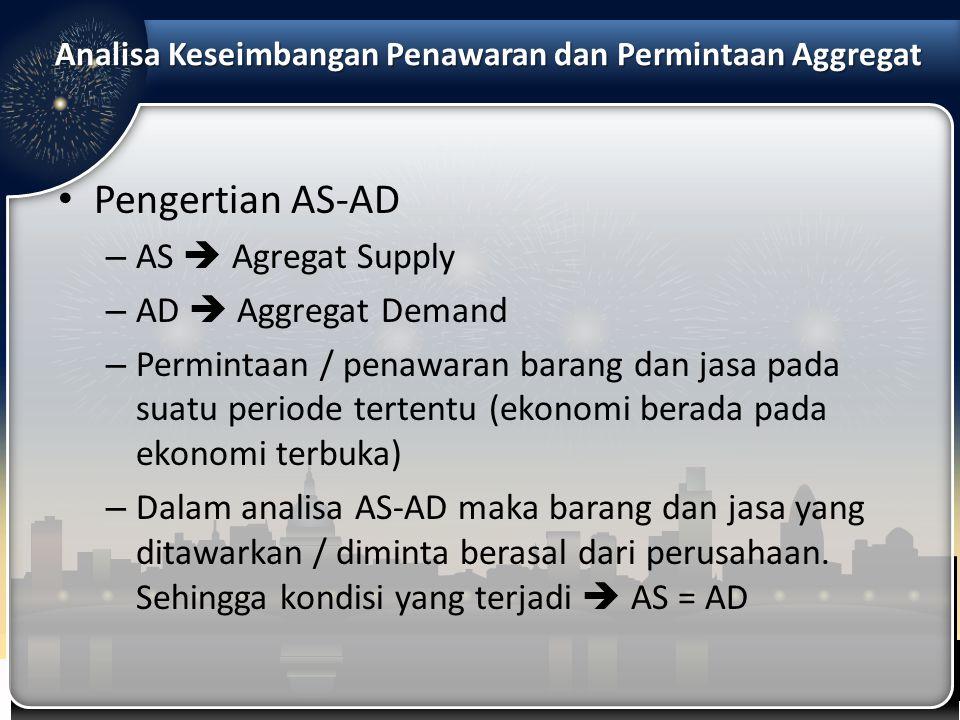 Pengertian AS-AD – AS  Agregat Supply – AD  Aggregat Demand – Permintaan / penawaran barang dan jasa pada suatu periode tertentu (ekonomi berada pad