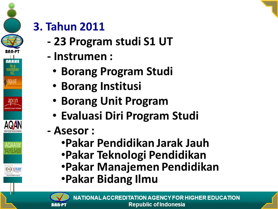 BAN-PT NATIONAL ACCREDITATION AGENCY FOR HIGHER EDUCATION Republic of Indonesia NAAHE is a member of: 3.