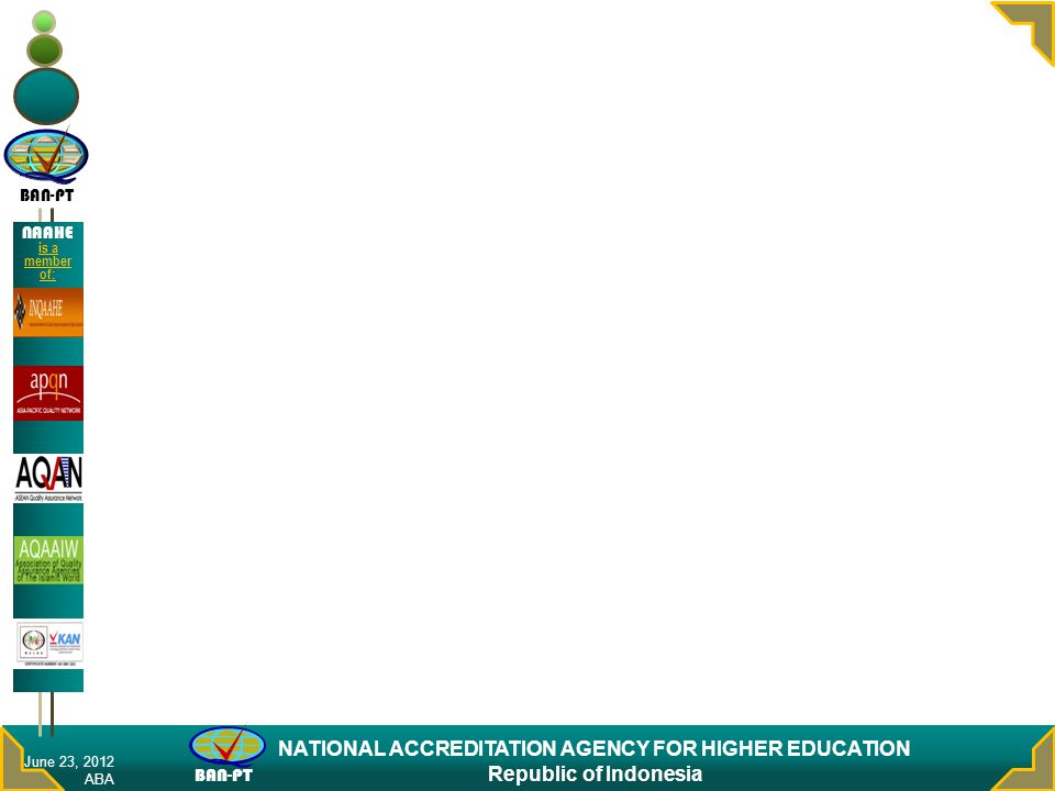 BAN-PT NATIONAL ACCREDITATION AGENCY FOR HIGHER EDUCATION Republic of Indonesia NAAHE is a member of: June 23, 2012 ABA