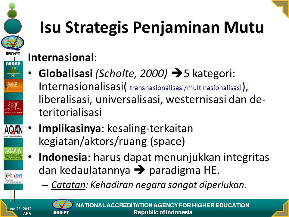 BAN-PT NATIONAL ACCREDITATION AGENCY FOR HIGHER EDUCATION Republic of Indonesia NAAHE is a member of: Isu Strategis Penjaminan Mutu Internasional: Glo