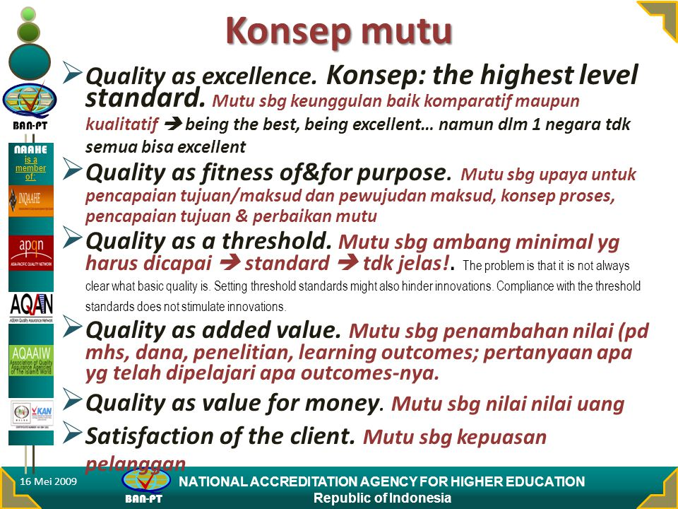 BAN-PT NATIONAL ACCREDITATION AGENCY FOR HIGHER EDUCATION Republic of Indonesia NAAHE is a member of: Konsep mutu  Quality as excellence.