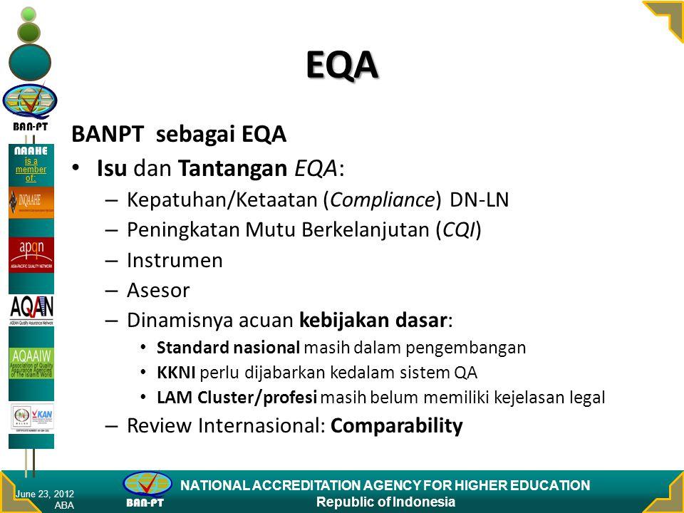 BAN-PT NATIONAL ACCREDITATION AGENCY FOR HIGHER EDUCATION Republic of Indonesia NAAHE is a member of: Isu dan Tangtangan Mikro: tingkat PT (1 dari 3) 1.Kematangan Organisasi PT – Tatapamong, Kepemimpinan – Perilaku sbg Learning Organization – Penguasaan dasar Manajemen perubahan – Modal dasar CQI: KMS sebatas repository June 23, 2012 ABA