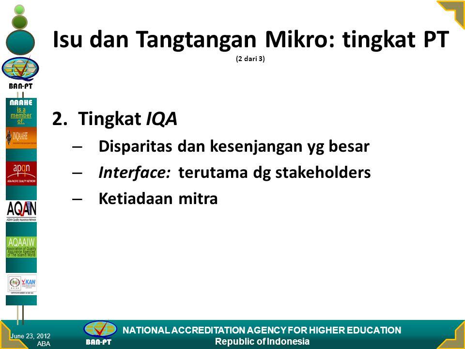 BAN-PT NATIONAL ACCREDITATION AGENCY FOR HIGHER EDUCATION Republic of Indonesia NAAHE is a member of: Isu dan Tangtangan Mikro: tingkat PT (2 dari 3)