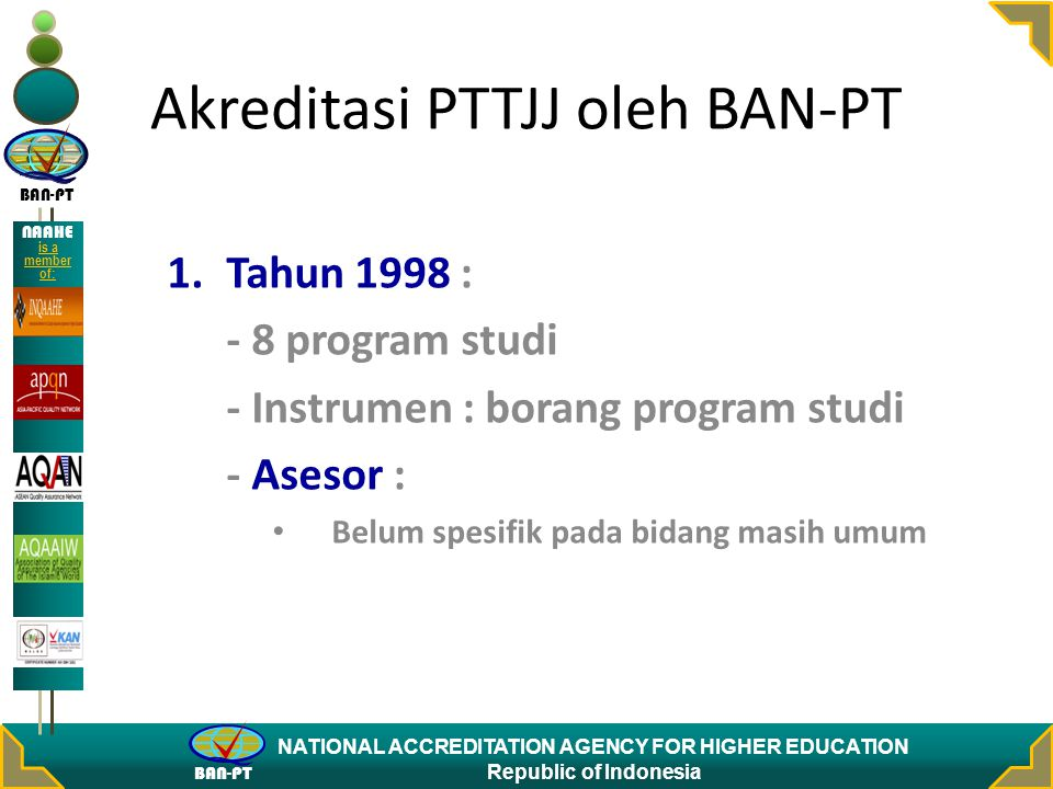 BAN-PT NATIONAL ACCREDITATION AGENCY FOR HIGHER EDUCATION Republic of Indonesia NAAHE is a member of: Akreditasi PTTJJ oleh BAN-PT 1.Tahun 1998 : - 8