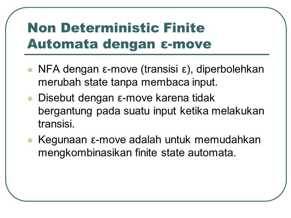 Non Deterministic Finite Automata dengan ε-move NFA dengan ε-move (transisi ε), diperbolehkan merubah state tanpa membaca input. Disebut dengan ε-move