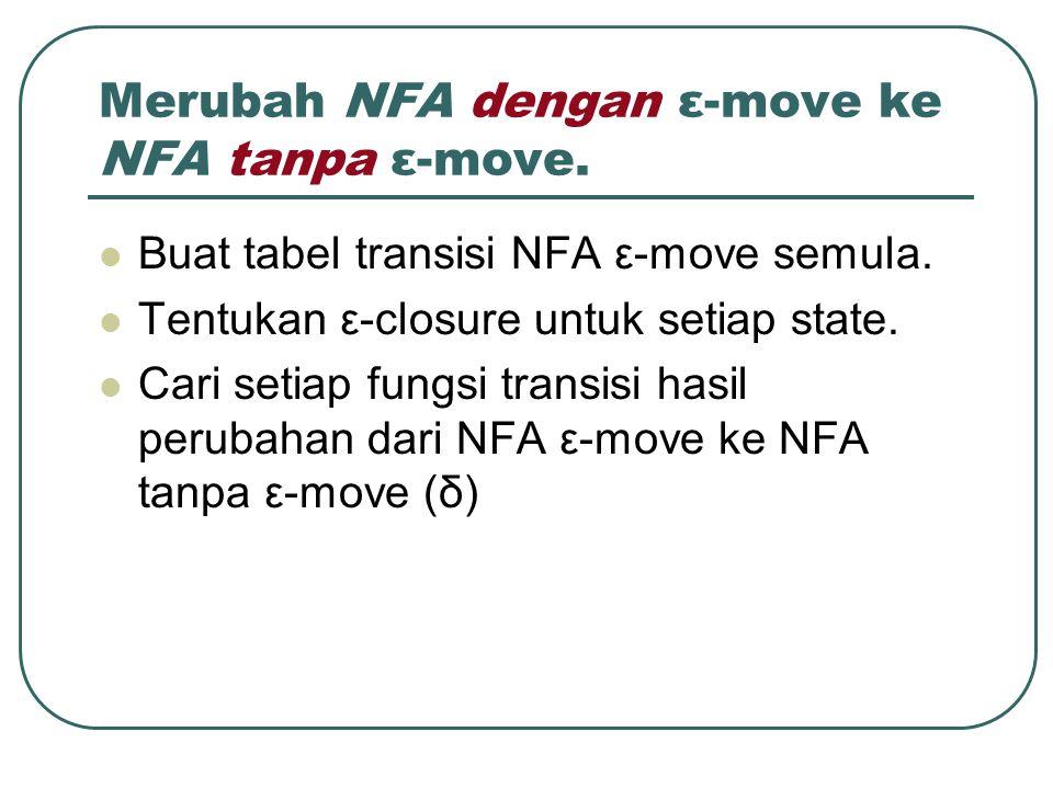 Merubah NFA dengan ε-move ke NFA tanpa ε-move. Buat tabel transisi NFA ε-move semula. Tentukan ε-closure untuk setiap state. Cari setiap fungsi transi