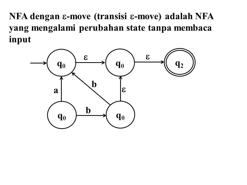  -closure (q 0 ) = {q 0, q 1 }  -closure (q 1 ) = {q 1 }  -closure (q 2 ) = {q 2 }  -closure (q 3 ) = {q 3 } State akhir pada NFA awal adalah q 3.