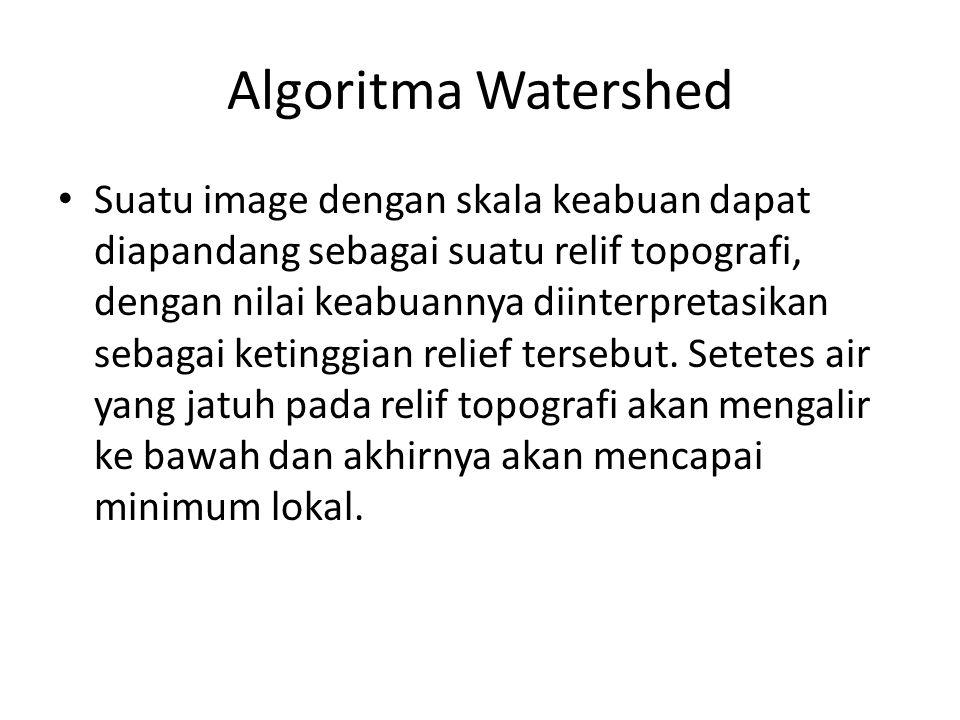 Algoritma Watershed Suatu image dengan skala keabuan dapat diapandang sebagai suatu relif topografi, dengan nilai keabuannya diinterpretasikan sebagai