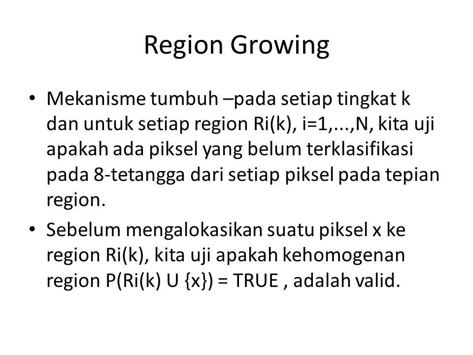 Region Growing Mekanisme tumbuh –pada setiap tingkat k dan untuk setiap region Ri(k), i=1,...,N, kita uji apakah ada piksel yang belum terklasifikasi