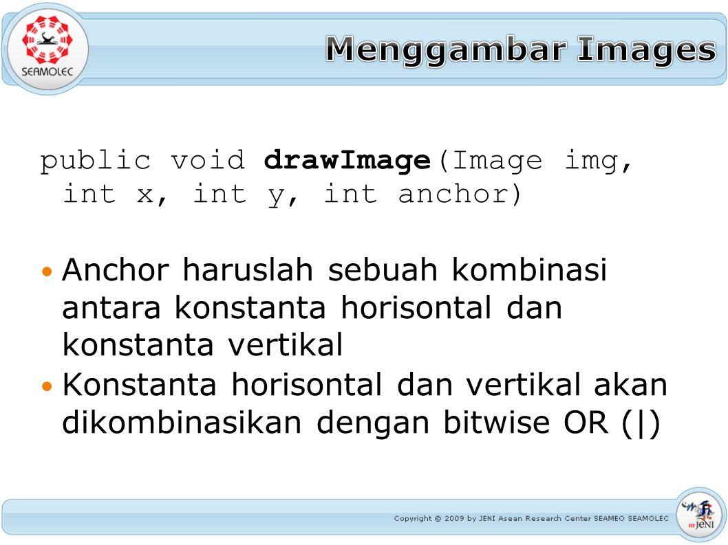 public void drawImage(Image img, int x, int y, int anchor) Anchor haruslah sebuah kombinasi antara konstanta horisontal dan konstanta vertikal Konstan