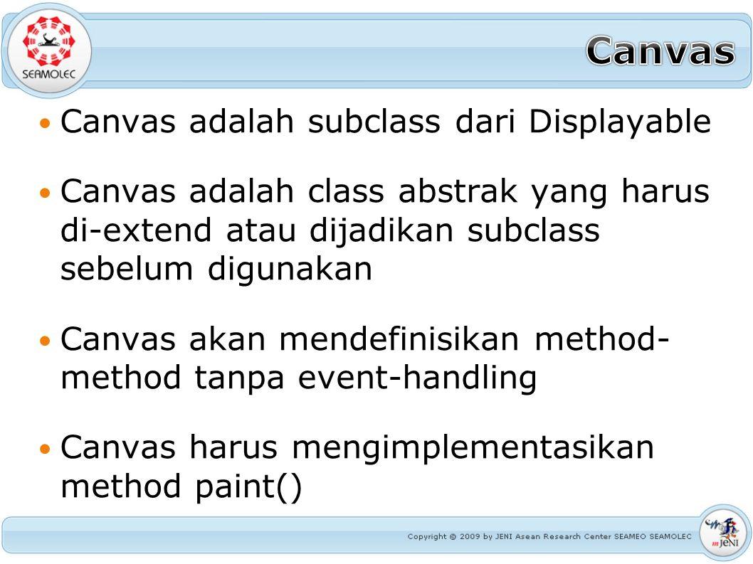 Canvas adalah subclass dari Displayable Canvas adalah class abstrak yang harus di-extend atau dijadikan subclass sebelum digunakan Canvas akan mendefi