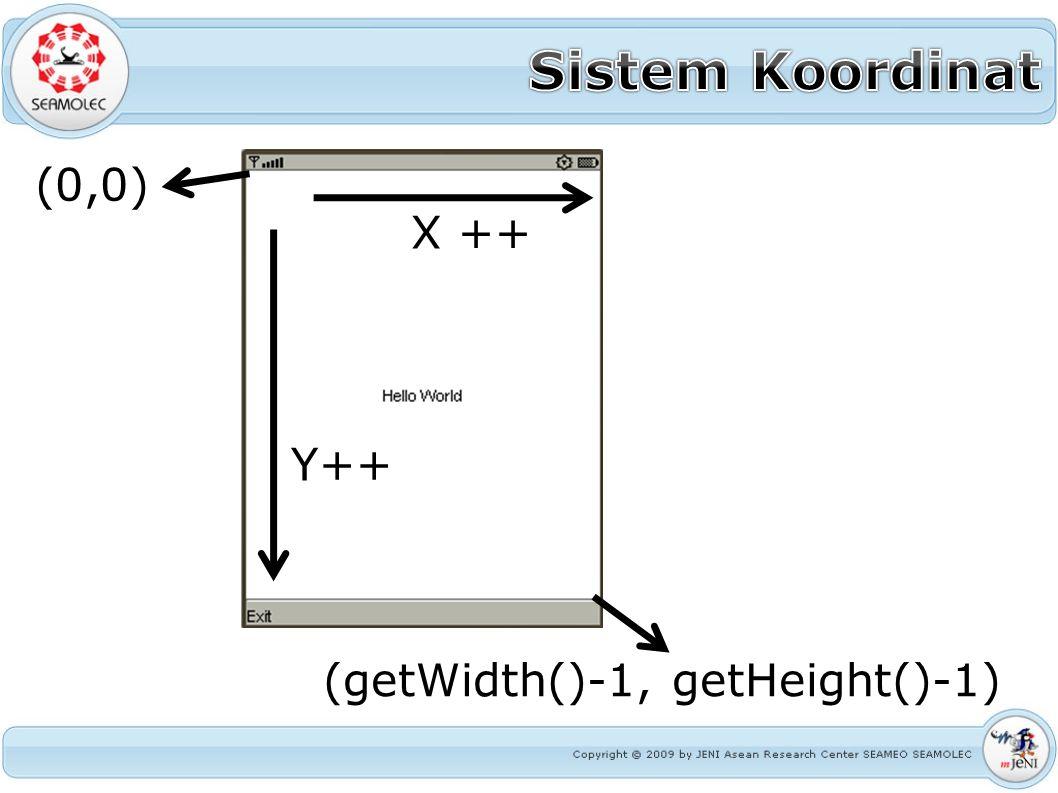 (0,0) (getWidth()-1, getHeight()-1) X ++ Y++